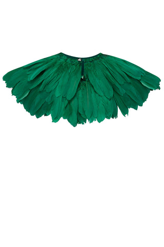 emerald green feather cape rosa bloom
