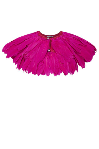 cerise feather cape rosa bloom
