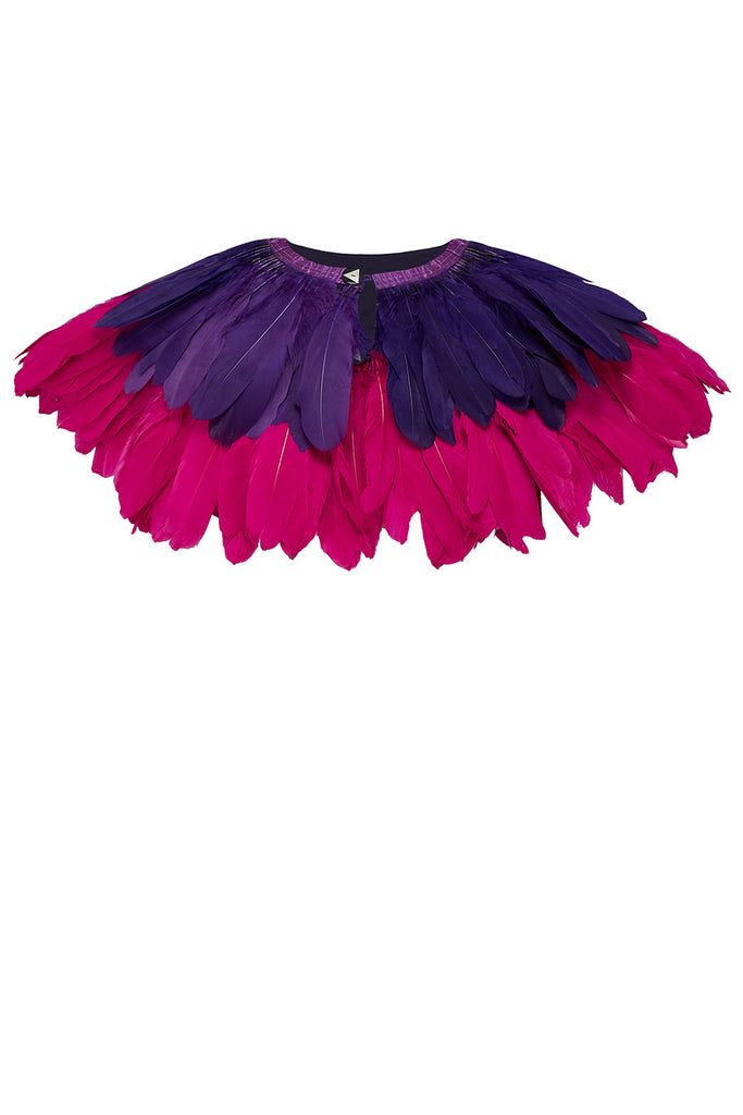 pink purple feather cape