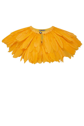 canary yellow feather cape