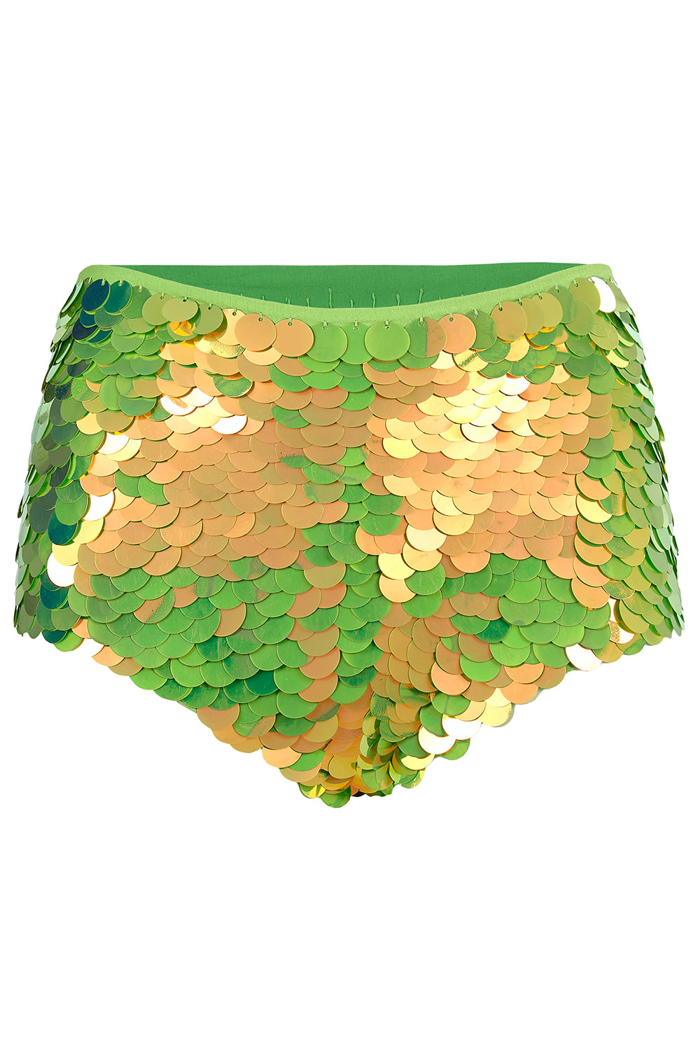 rosa bloom angelica gigi hot pants in lime green festival sequins
