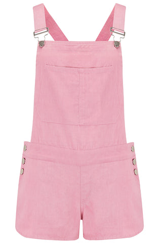 JUNE DUNGAREE SHORTS - NATURAL PINK
