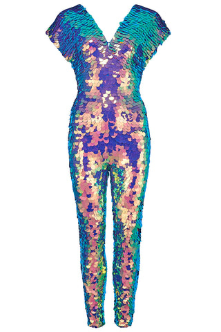 orchid purple green sequin jumpsuit rosa bloom