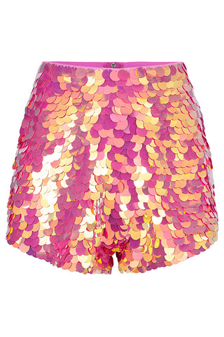 JUNO SEQUIN SHORTS - FLAMINGO