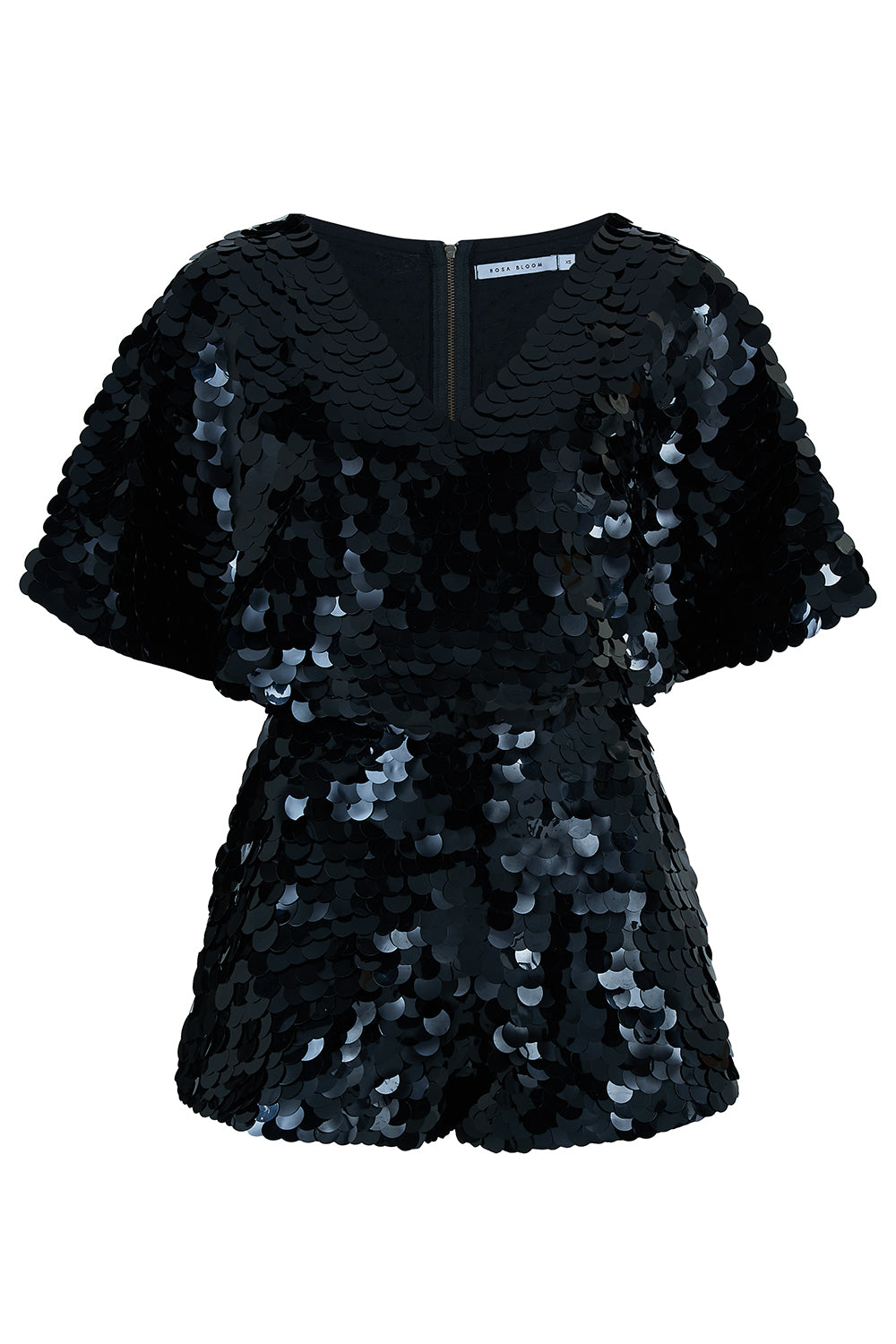 MELLA CAPE PLAYSUIT - BLACK