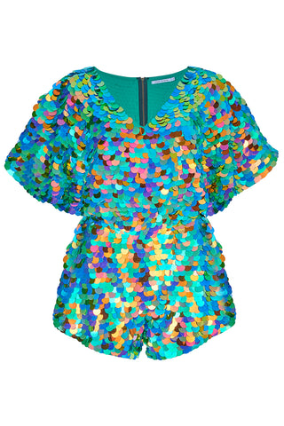 MELLA CAPE PLAYSUIT - KALEIDOSCOPE