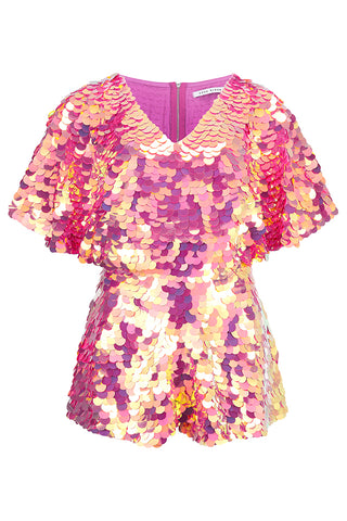 MELLA CAPE PLAYSUIT - FLAMINGO