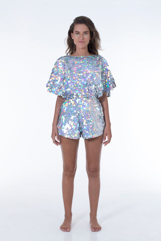 MELLA CAPE-PLAYSUIT - HOLOGRAM SILVER