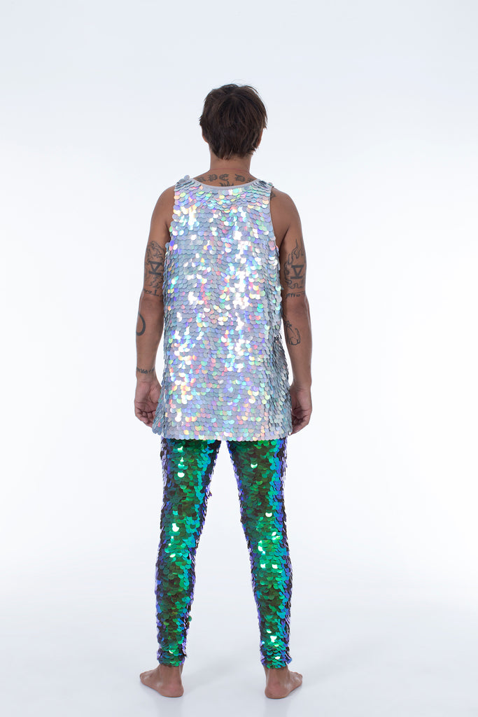 JUPITER MENS SEQUIN VEST - HOLOGRAM SILVER