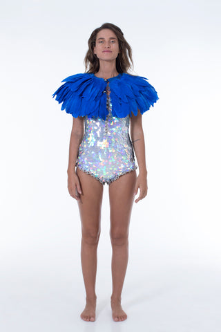 FIREBIRD FEATHER CAPE - ROYAL BLUE