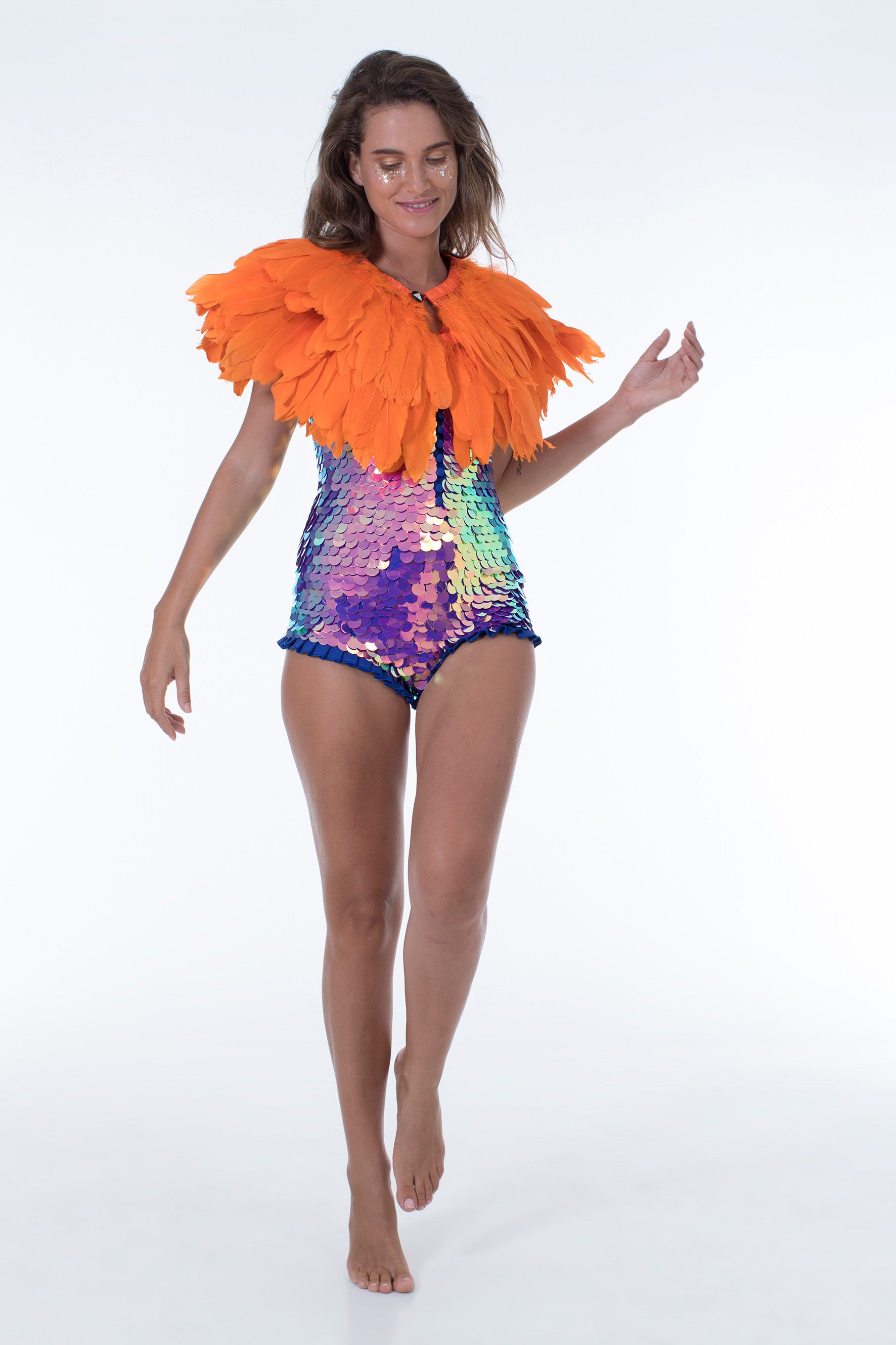 juicy orange feather cape