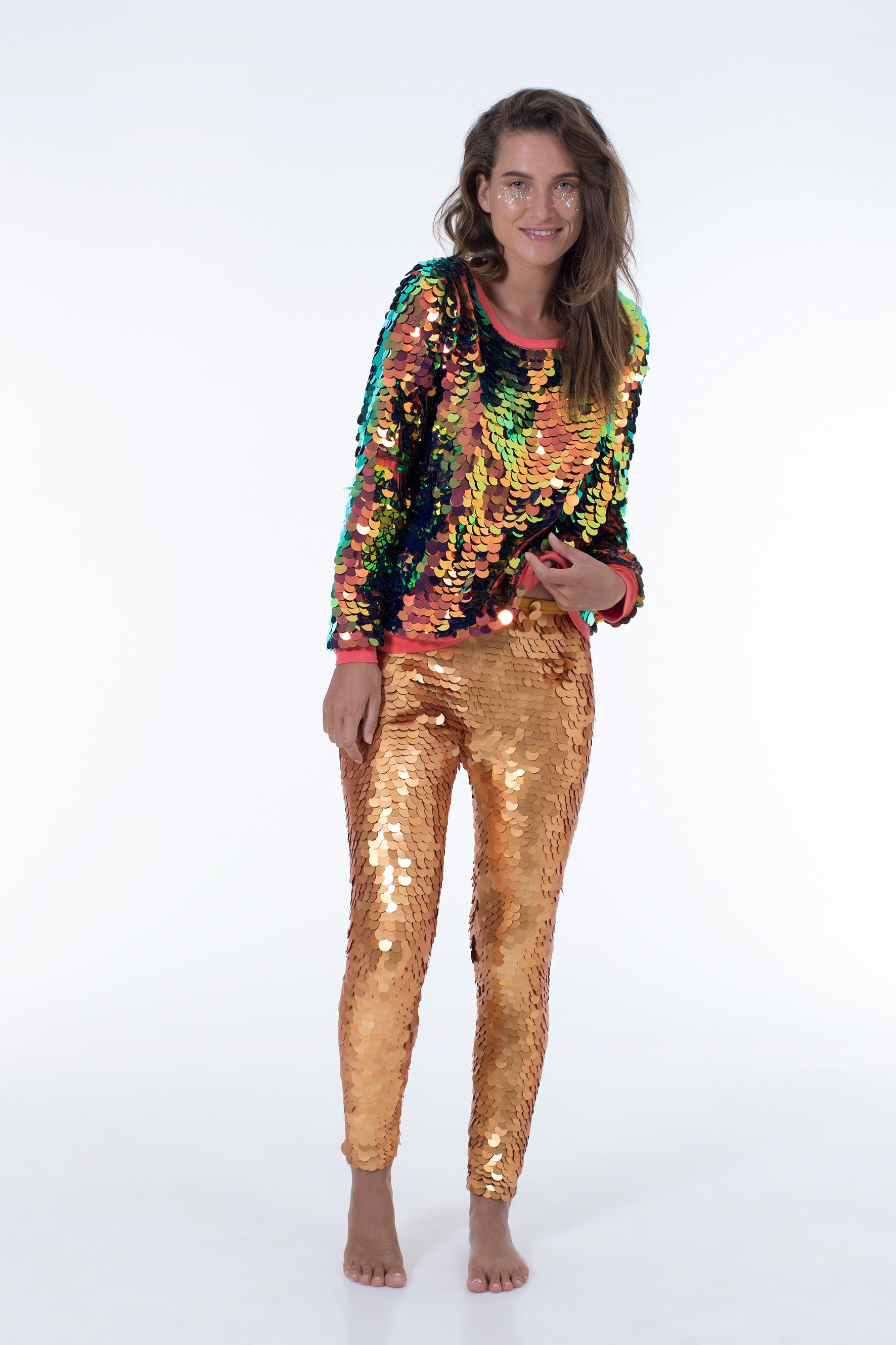 INDUS SEQUIN LEGGINGS - GOLD