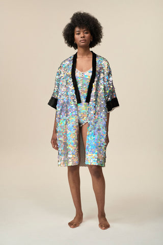 AGNES SEQUIN ROBE - HOLOGRAM SILVER