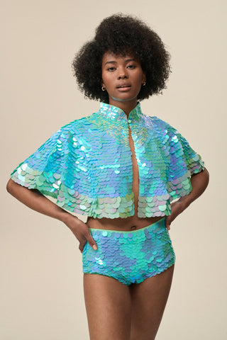 ECLIPSE SEQUIN CAPE - MINT