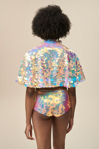 ECLIPSE SEQUIN CAPE - QUARTZ