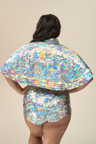 ECLIPSE SEQUIN CAPE - HOLOGRAM SILVER