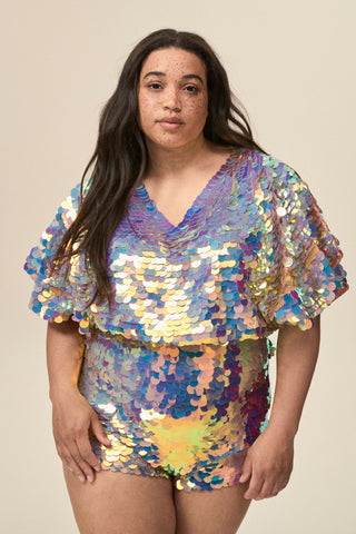 FLORENCE SEQUIN CAPE TOP - ROSE