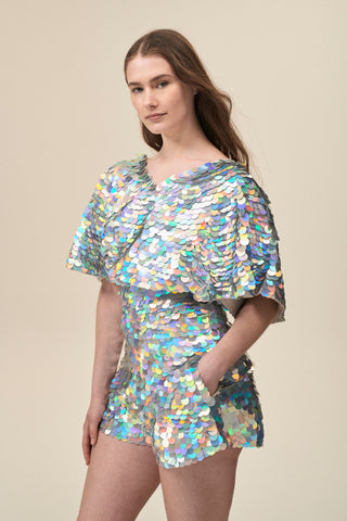 FLORENCE SEQUIN CAPE TOP - HOLOGRAM SILVER