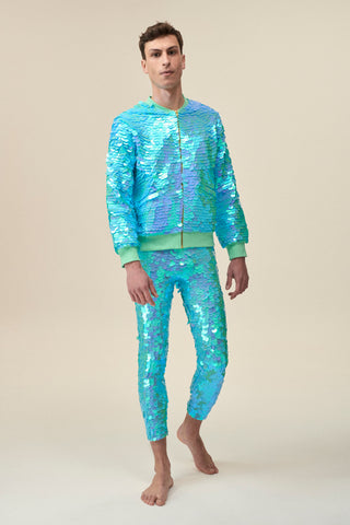 SUPERNOVA SEQUIN BOMBER JACKET - MINT