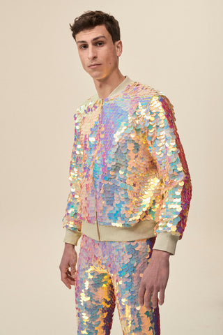 SUPERNOVA SEQUIN BOMBER JACKET - QUARTZ