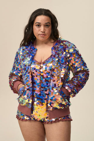 SUPERNOVA SEQUIN BOMBER JACKET - DAHLIA