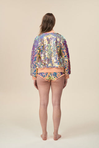 SUPERNOVA SEQUIN BOMBER JACKET - ROSE
