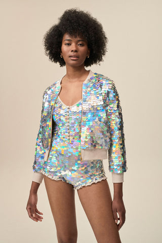 SUPERNOVA SEQUIN BOMBER JACKET - HOLOGRAM SILVER