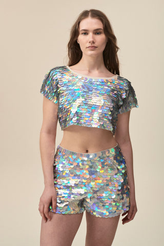 TINA SEQUIN CROP T-SHIRT - HOLOGRAM SILVER