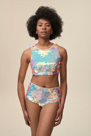 TWINKS SEQUIN CROP TOP - QUARTZ