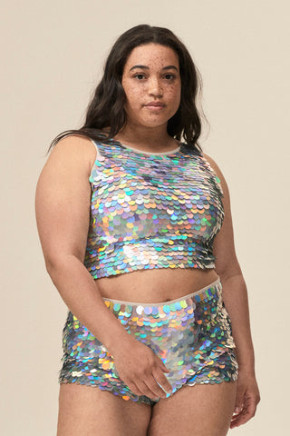 TWINKS SEQUIN CROP TOP - HOLOGRAM SILVER
