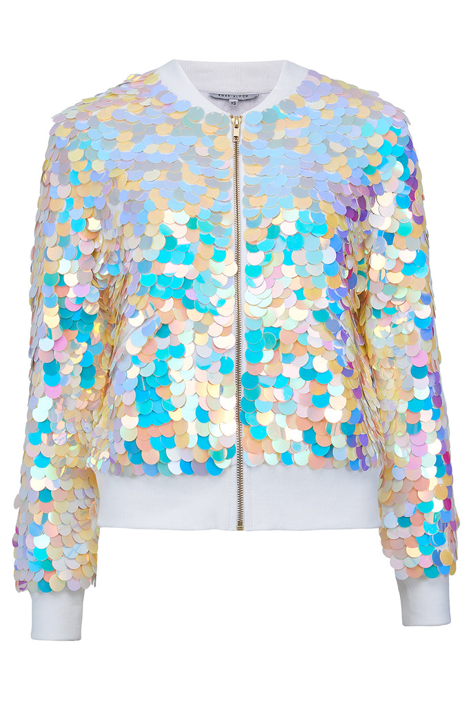 SUPERNOVA SEQUIN BOMBER JACKET - PEARL