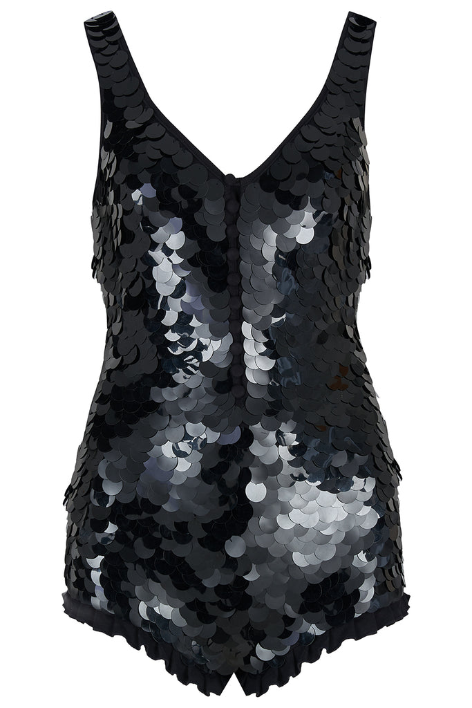 SEA CIRCUS SEQUIN PLAYSUIT - BLACK