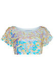 TINA SEQUIN CROP T-SHIRT - PEARL