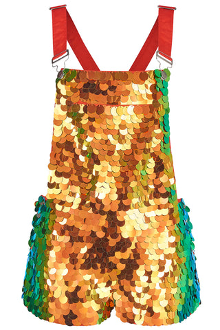 BONNIE SEQUIN DUNGAREE SHORTS - BLAZE '18