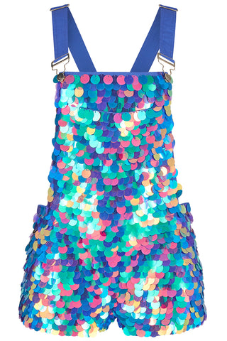 BONNIE SEQUIN DUNGAREE SHORTS - JEWEL