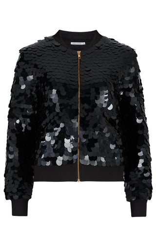 SUPERNOVA SEQUIN BOMBER JACKET - BLACK