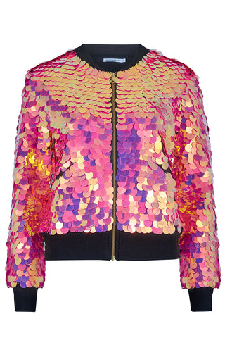SUPERNOVA SEQUIN BOMBER JACKET - FLAMINGO