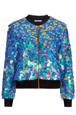 SUPERNOVA SEQUIN BOMBER JACKET - JEWEL