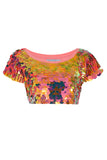 TINA SEQUIN CROP T-SHIRT - SOLAR