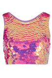 TWINKS SEQUIN CROP TOP - FLAMINGO
