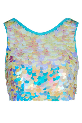 TWINKS SEQUIN CROP TOP - PEARL
