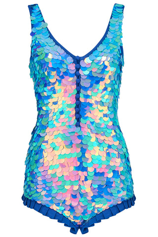 SEA CIRCUS SEQUIN PLAYSUIT - AMETHYST