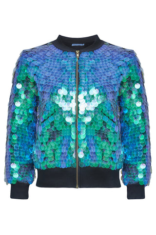 SUPERNOVA SEQUIN BOMBER JACKET - MERMAID