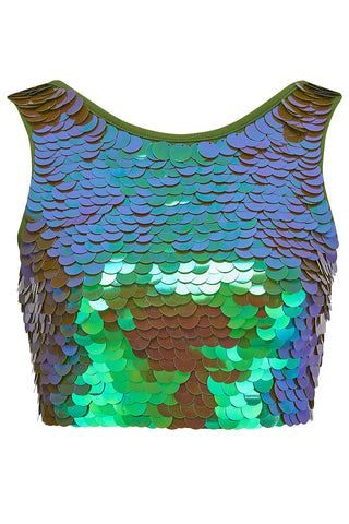 TWINKS SEQUIN CROP TOP - JUNIPER