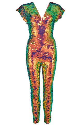 sequin jumpsuit blaze bronze green rosa bloom