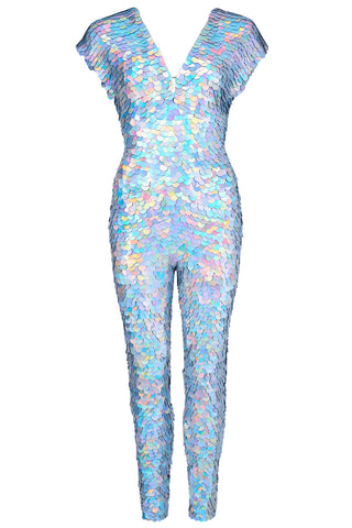 silver hologram jumpsuit rosa bloom