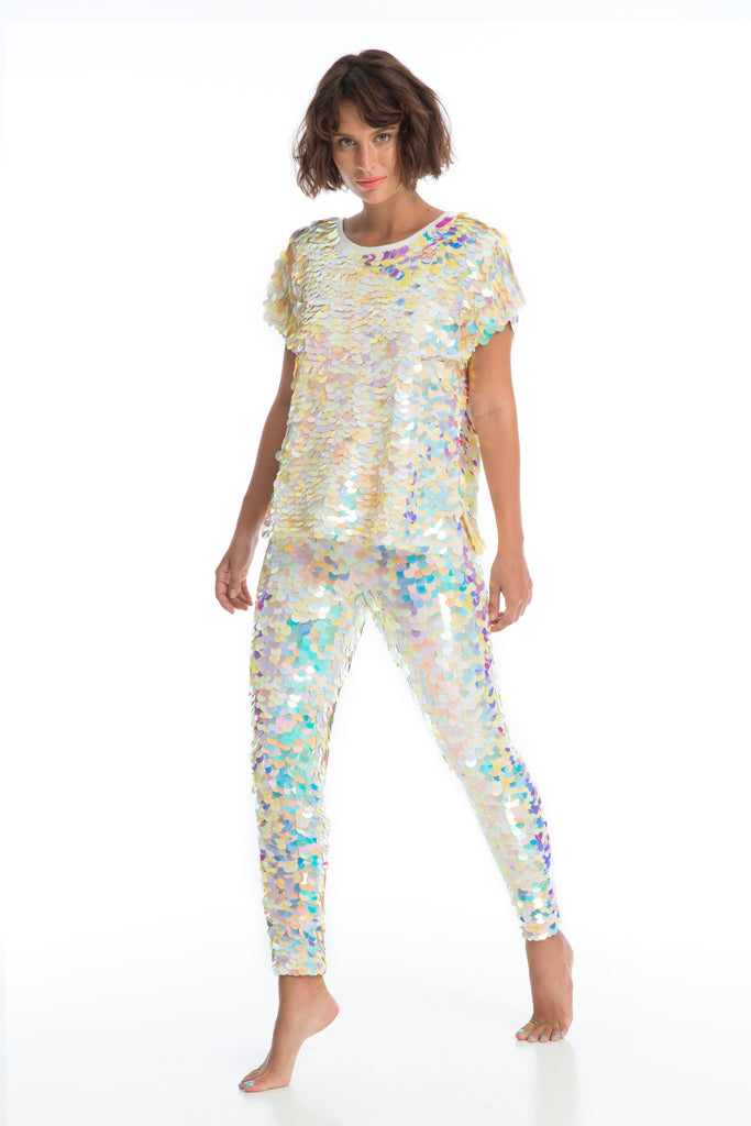 INDUS SEQUIN LEGGINGS - PEARL