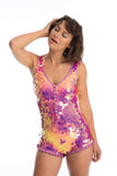 SEA CIRCUS SEQUIN PLAYSUIT - FLAMINGO