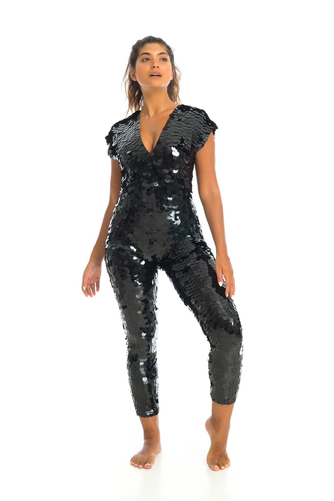 Full length shot of model in black sequin Aprhodite jumpsuit