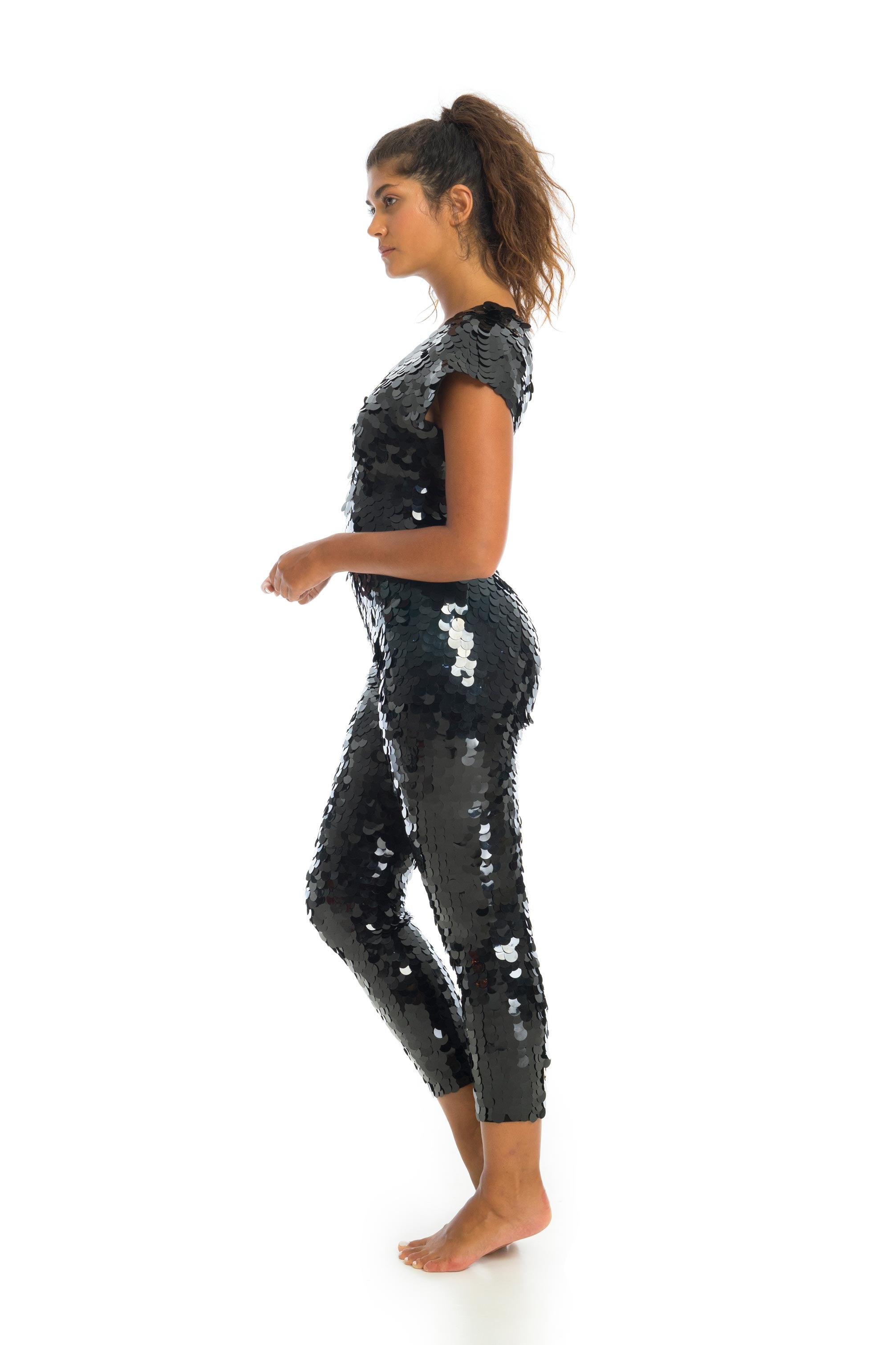 APHRODITE SEQUIN JUMPSUIT - BLACK